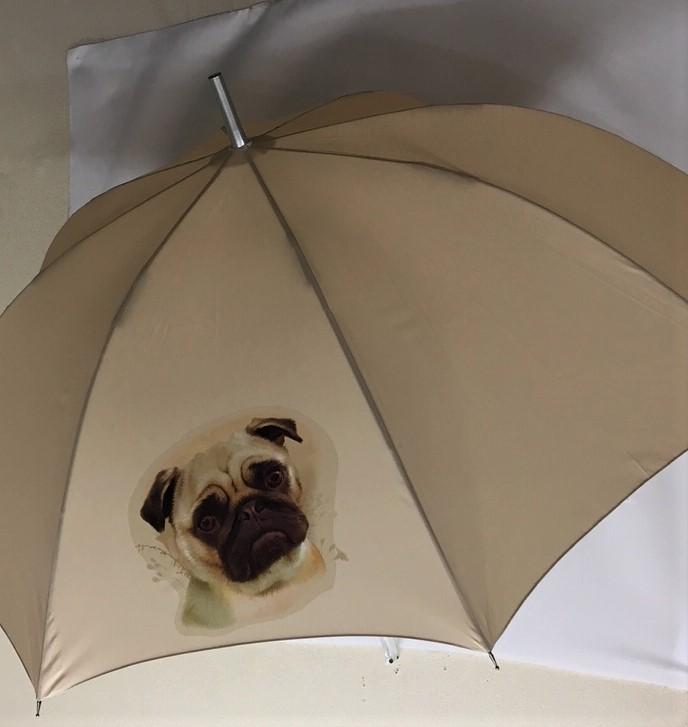 プレゼントに最適♪長く使える丈夫な長傘 強風に強く壊れにくい 高品質グラスファイバー ワンタッチ式 ジャンプ式【ラッピング無料】ギフトにも人気! パグ (NEW)パググッズ 傘 65cm 直径110cm レディース メンズ 男女兼用 雨傘 かわいい おしゃれ 梅雨 レイングッズ UVカット 風に強い 耐風 犬柄 いぬ 犬グッズ 犬プリント