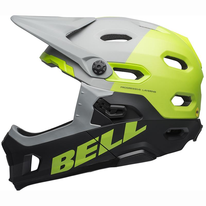 送料無料 BELL(ベル) ヘルメット マウンテンバイク スーパー DH ミップス グレー/グリーン/ブラック L 19