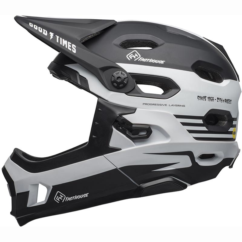 送料無料 BELL(ベル) ヘルメット マウンテンバイク スーパー DH ミップス ブラック/ホワイト ファストハウス L 19