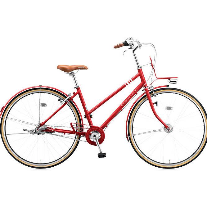 ブリヂストングリーンレーベル シティサイクル マークローザ(MarkRosa) 3S スタッガード MRS73T E.XBKレッド 【2017年モデル】【完全組立済自転車】