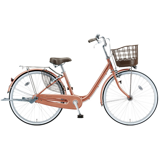 ブリヂストン シティサイクル アルミーユ AU40T M.Xピンクゴールド 24インチ変速なし 点灯虫(オートライト)ランプ 【2017年モデル】【完全組立済自転車】