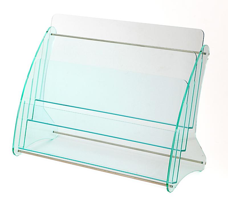 日本製 高級 ガラス色アクリル製 卓上カタログスタンド パンフレットスタンド A4判2列3段 カタログケース