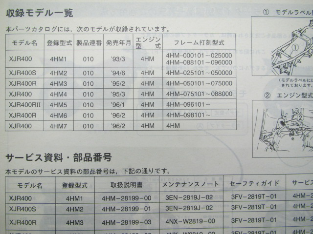 One list of Yamaha regular motorcycle maintenance book XJR400 S R R parts  4HM1 2 3 4 5 6 car inspection parts catalogue maintenance book