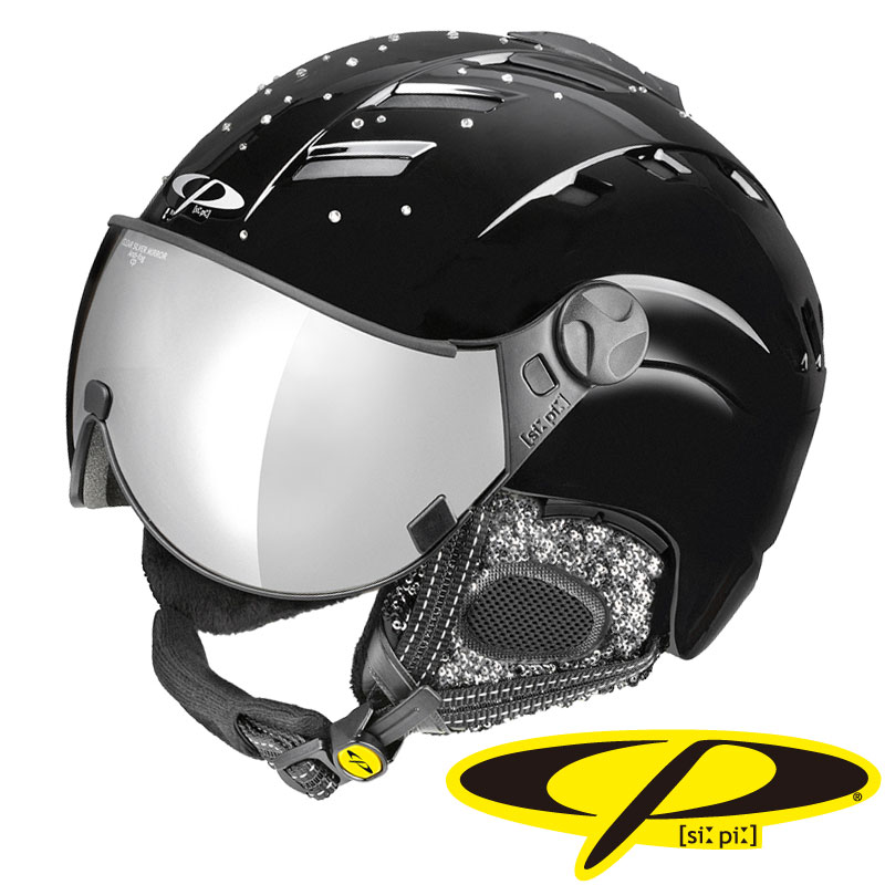 CP (シーピー) スノーヘルメット CAMURAI SWV BSB CPC1704 スワロフスキー ブラックシャイン×ブラックシャイン グレーミラーレンズ M/L/XL 【メール便不可・宅配便配送】