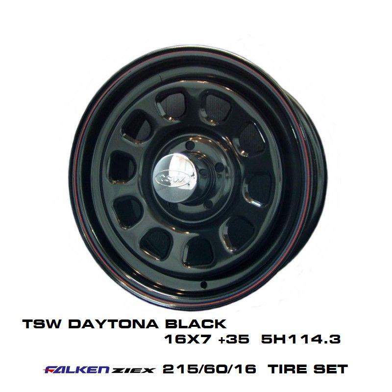T.S.W DAYTONA [BLACK] 16X7.0J +35 5H114.3 + ファルケン ZIEX 215/60/16