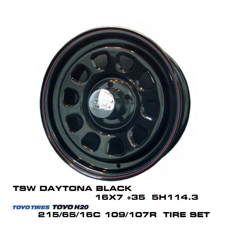 T.S.W DAYTONA [BLACK] 16X7.0J +35 5H114.3 + TOYO H20 ホワイトレター 215/65/16C 109/107R