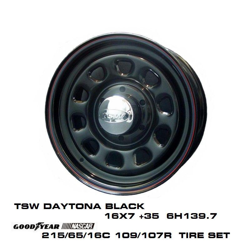 200系ハイエースT.S.W DAYTONA [BLACK] 16X7.0J +35 6H139.7 + GOODYEAR NASCAR ホワイトレター 215/65/16C 109/107R