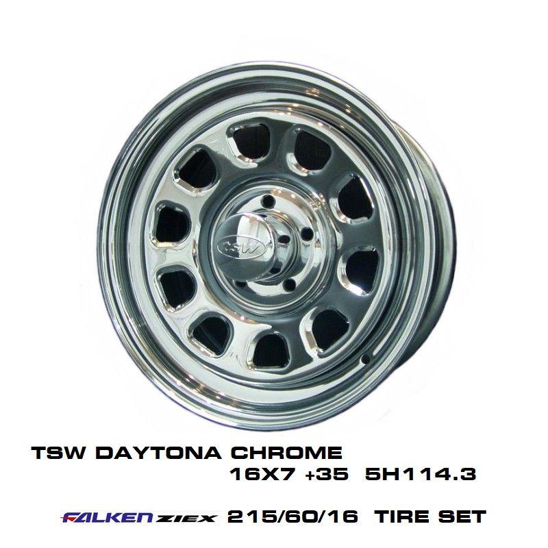 T.S.W DAYTONA [CHROME] 16X7.0J +35 5H114.3 + ファルケン ZIEX 215/60/16