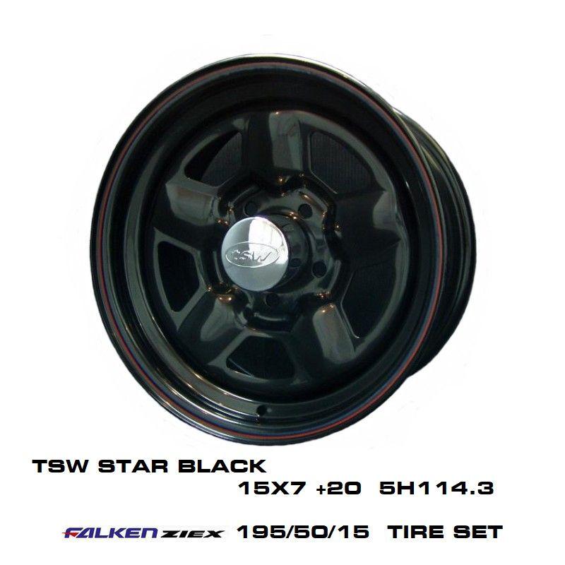 T.S.W STAR [BLACK] 15X7.0J +20 5H114.3 + ファルケン ZIEX 195/50/15