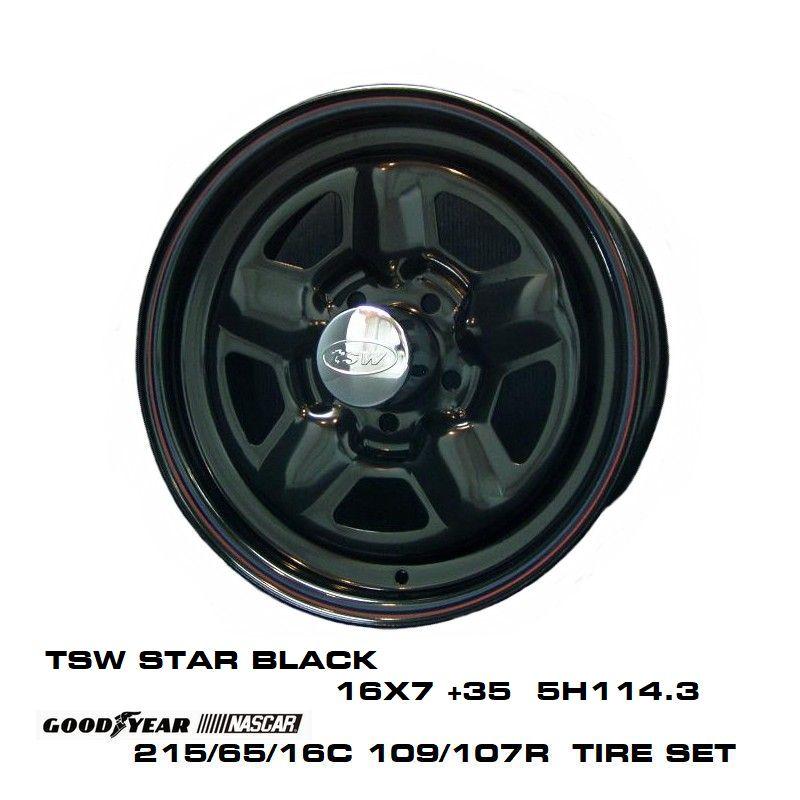 【感謝価格】 T.S.W STAR [BLACK] 16X7.0J +35 T.S.W 5H114.3 + [BLACK] GOODYEAR STAR NASCAR ホワイトレター 215/65/16C 109/107R, ゲットマン:17993c4b --- kventurepartners.sakura.ne.jp