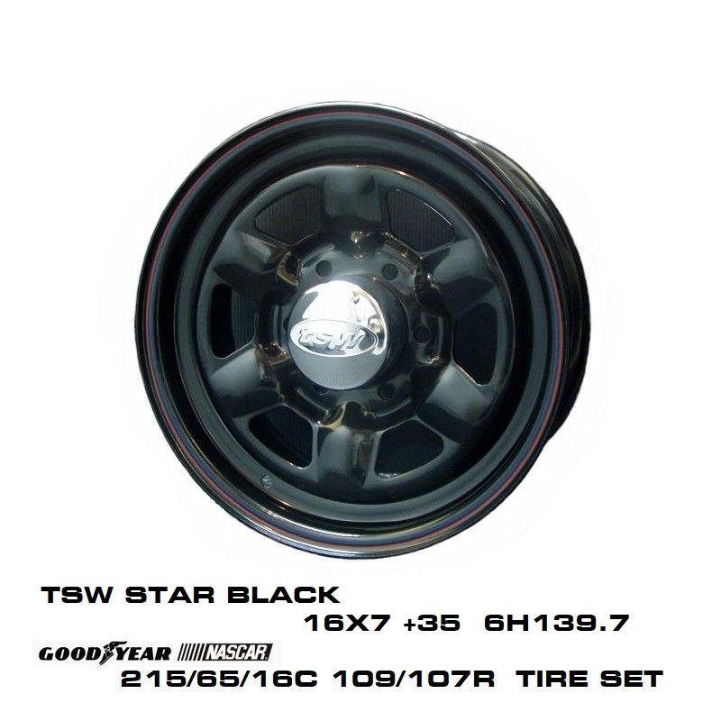 200系ハイエースT.S.W STAR [BLACK] 16X7.0J +35 6H139.7 + GOODYEAR NASCAR ホワイトレター 215/65/16C 109/107R