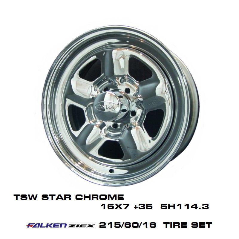 T.S.W STAR [CHROME] 16X7.0J +35 5H114.3 + ファルケン ZIEX 215/60/16