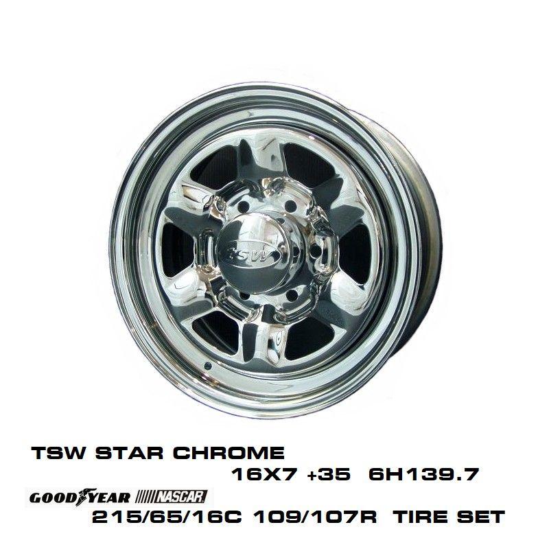 200系ハイエースT.S.W STAR [CHROME] 16X7.0J +35 6H139.7 + GOODYEAR NASCAR ホワイトレター 215/65/16C 109/107R