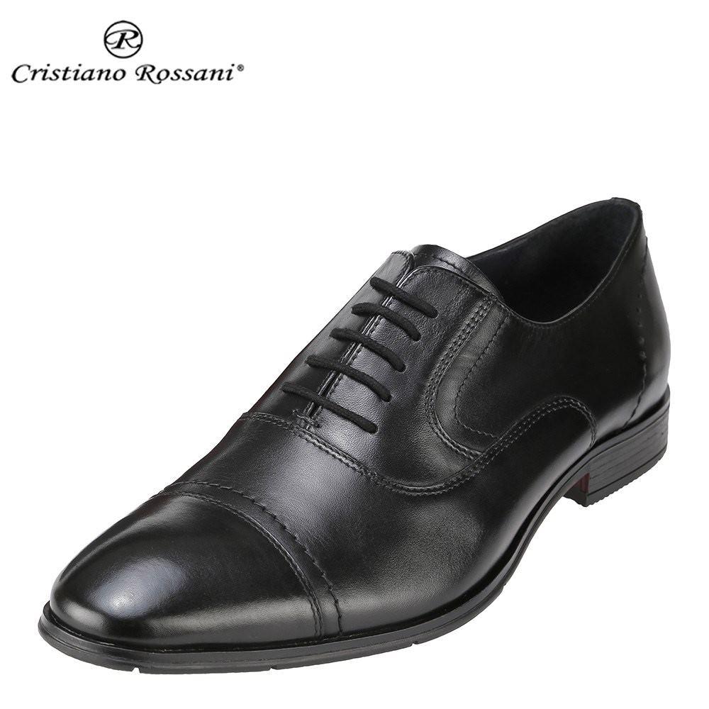クリスチアーノ・ロザーニ Cristiano Rossani ビジネスシューズ 1004 メンズ 靴 シューズ 3E相当 ビジネスシューズ 本革 内羽根 ストレートチップ 幅広 ロングノーズ 小さいサイズ対応 24.5cm 大きいサイズ対応 28.0cm ブラック SP 取寄