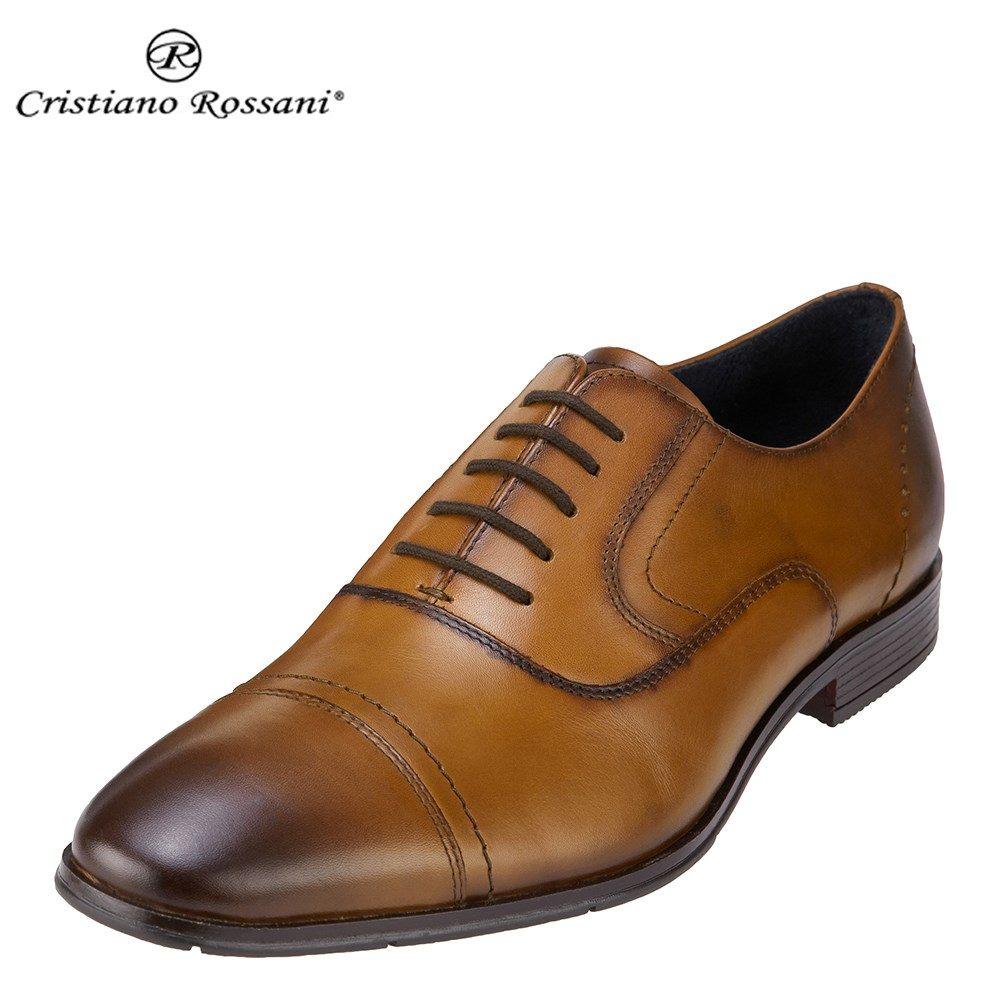 クリスチアーノ・ロザーニ Cristiano Rossani ビジネスシューズ 1004 メンズ 靴 シューズ 3E相当 ビジネスシューズ 本革 内羽根 ストレートチップ 幅広 ロングノーズ 小さいサイズ対応 24.5cm 大きいサイズ対応 28.0cm ブラウン SP 取寄