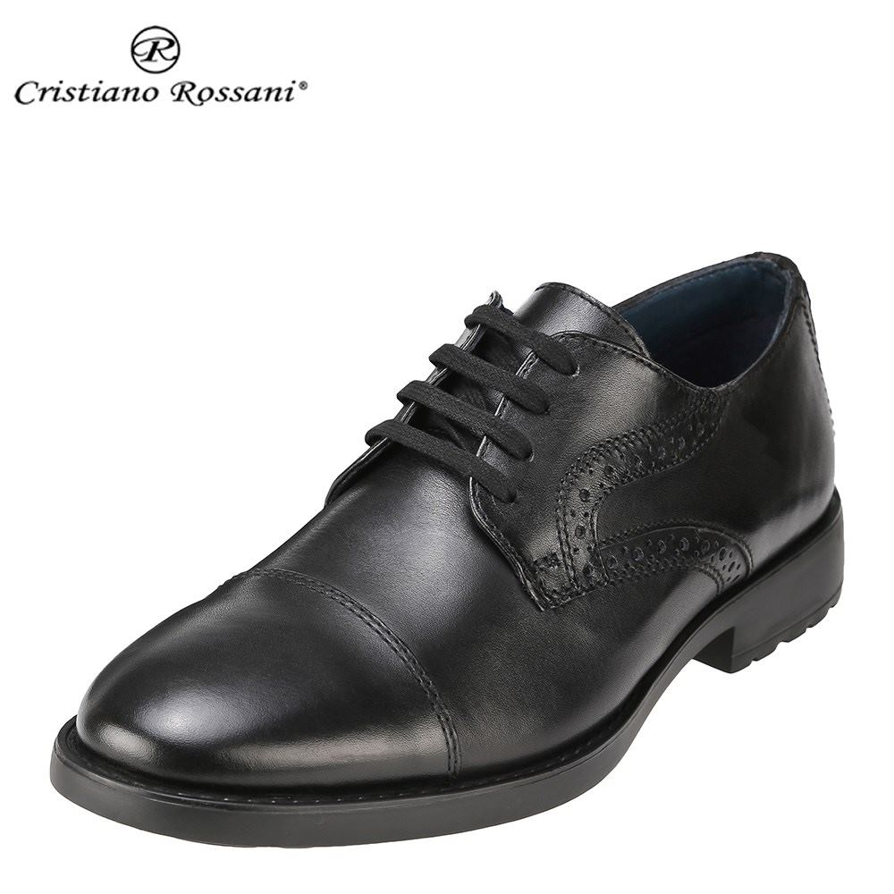 クリスチアーノ・ロザーニ Cristiano Rossani カジュアルシューズ 3001 メンズ 靴 シューズ 3E相当 レースアップシューズ 本革 トラッド カジュアル 幅広 ストレートチップ 小さいサイズ対応 24.5cm 大きいサイズ対応 28.0cm ブラック SP 取寄