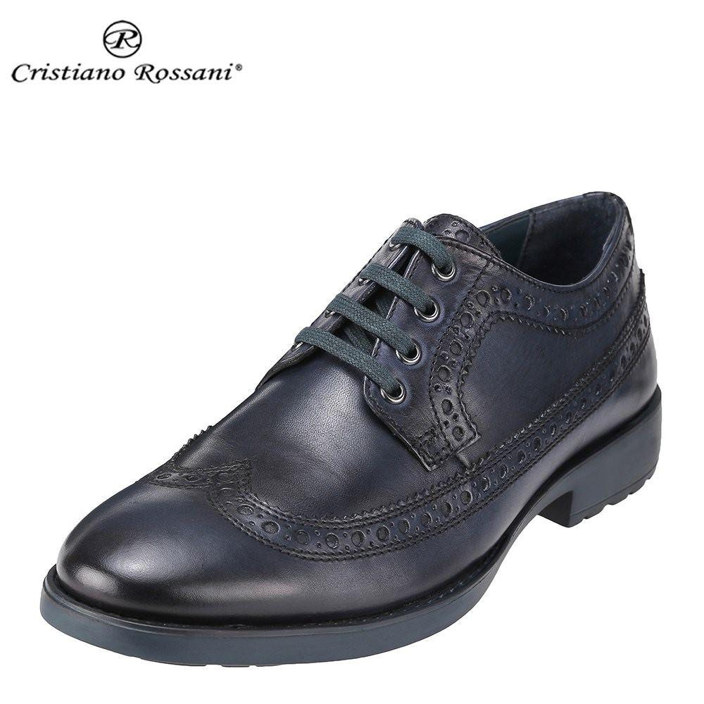 クリスチアーノ・ロザーニ Cristiano Rossani カジュアルシューズ 3003 メンズ 靴 シューズ 3E相当 レースアップシューズ 本革 トラッド カジュアル 幅広 ウィングチップ 小さいサイズ対応 24.5cm 大きいサイズ対応 28.0cm ネイビー SP 取寄