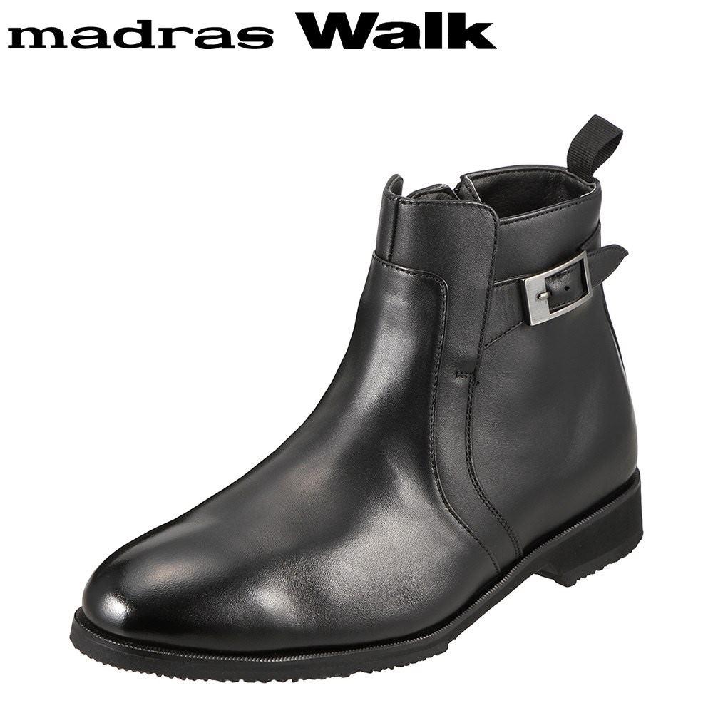 マドラスウォーク madras Walk ブーツ SPMW8007 メンズ 靴 シューズ 4E相当 ショートブーツ 防水 幅広 防滑 歩きやすい 仕事 通勤 ビジネス 小さいサイズ対応 24.5cm ブラック SP