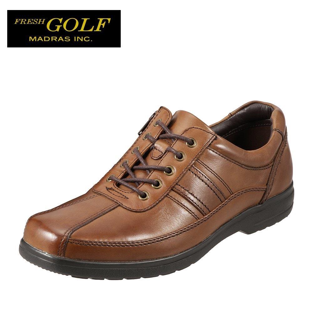 フレッシュゴルフ Fresh Golf コンフォートシューズ FG734 メンズ靴 靴 シューズ 4E相当 カジュアルシューズ 本革 軽量 幅広 ローカット レースアップ 小さいサイズ対応 24.5cm ブラウン SP