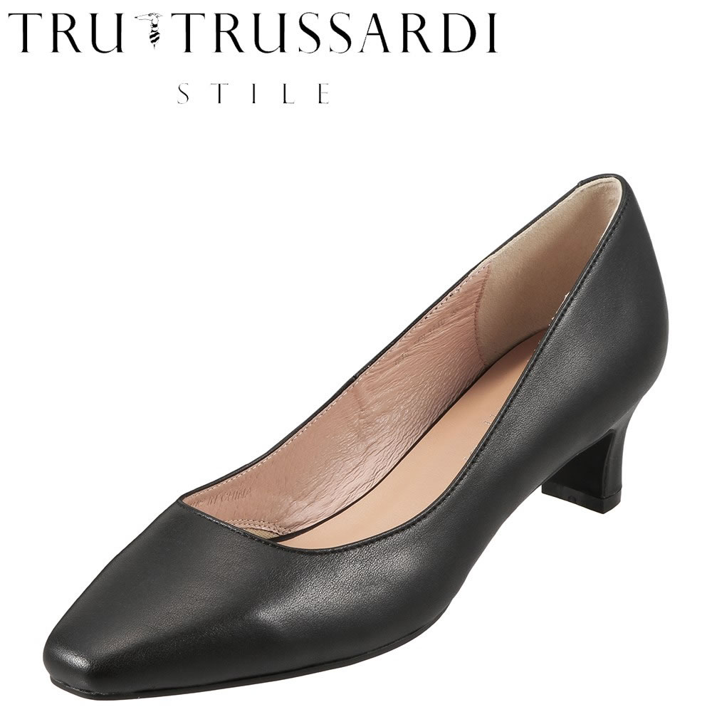 トラサルディ TRUSSARDI パンプス TRL3710 レディース靴 靴 シューズ E相当 スクウェアトゥ パンプス 本革 ローヒール シンプル オフィス 通勤 仕事 小さいサイズ対応 22.5cm ブラック SP