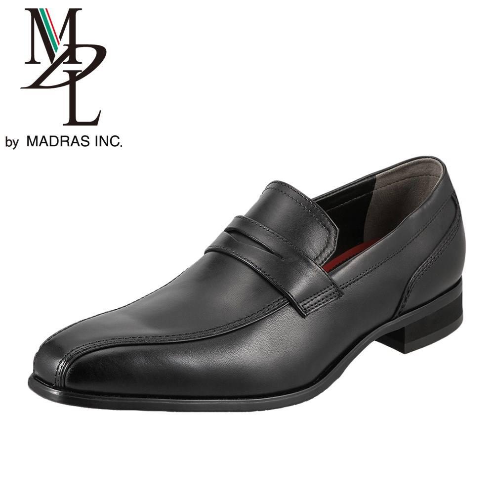 エムディエル MDL ビジネスシューズ DS4063 メンズ靴 靴 シューズ 3E相当 ビジネスシューズ 本革 スリッポン ローファー スワールモカ 軽量 幅広 小さいサイズ対応 24.5cm ブラック SP