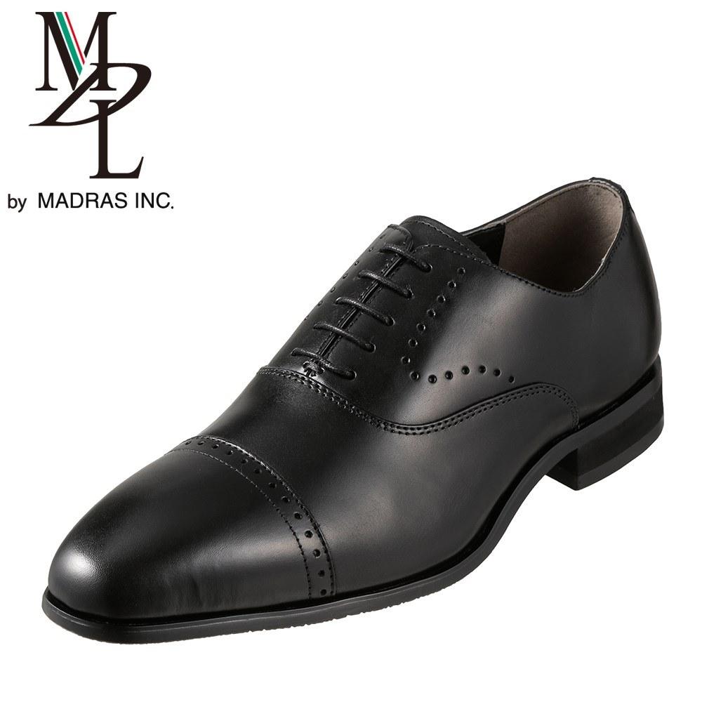 エムディエル MDL ビジネスシューズ DS4101 メンズ靴 靴 シューズ 3E相当 内羽根 ストレートチップ 本革 ビジネス 仕事 通勤 メダリオン 幅広 3E ロングノーズ 脚長効果 小さいサイズ対応 24.5cm ブラック SP