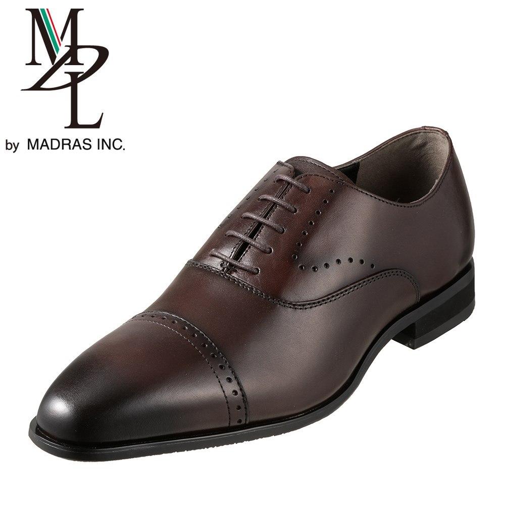 エムディエル MDL ビジネスシューズ DS4101 メンズ靴 靴 シューズ 3E相当 内羽根 ストレートチップ 本革 ビジネス 仕事 通勤 メダリオン 幅広 3E ロングノーズ 脚長効果 小さいサイズ対応 24.5cm ダークブラウン SP