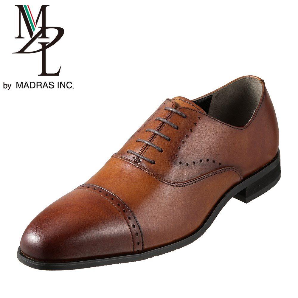 エムディエル MDL ビジネスシューズ DS4101 メンズ靴 靴 シューズ 3E相当 内羽根 ストレートチップ 本革 ビジネス 仕事 通勤 メダリオン 幅広 3E ロングノーズ 脚長効果 小さいサイズ対応 24.5cm ライトブラウン SP