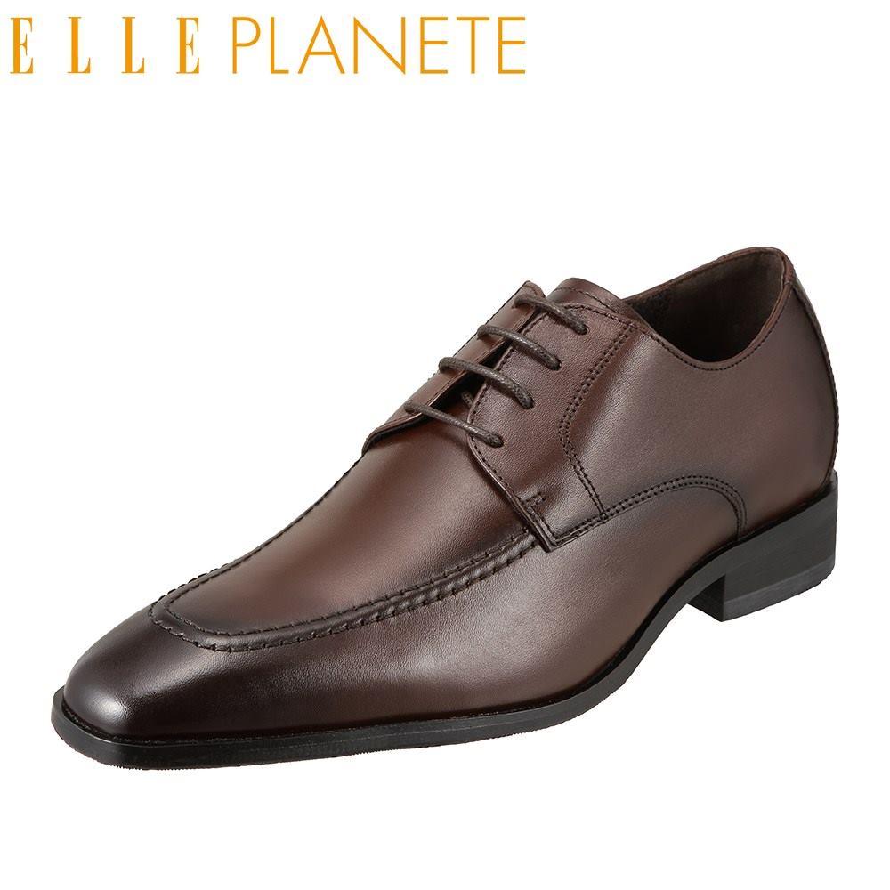 エル プラネット ELLE PLANETE ビジネスシューズ PT2018 メンズ靴 靴 シューズ 3E相当 外羽根 Uチップ 本革 仕事 ビジネス 通勤 ロングノーズ 小さいサイズ対応 24.5cm ダークブラウン SP