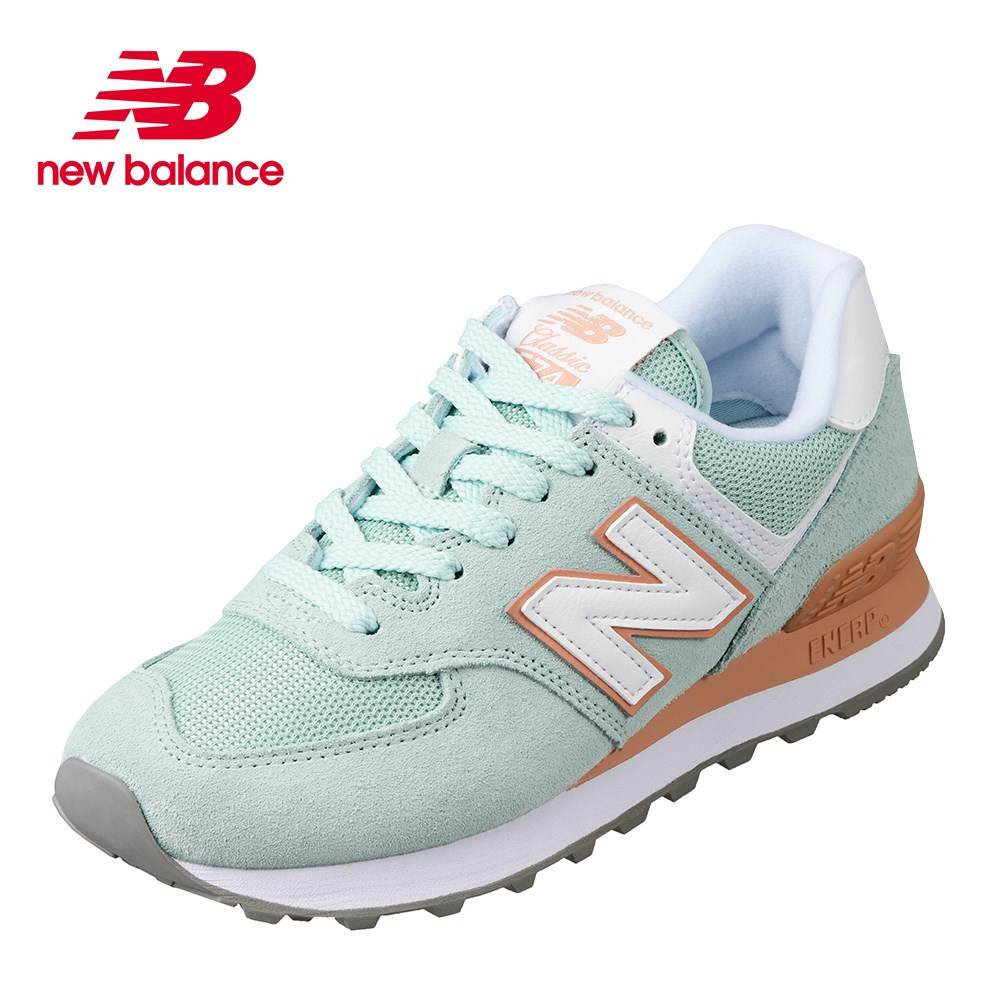 ニューバランス new balance WL574ESEB レディース靴 B レディース スニーカー スエード 574 シリーズ 大きいサイズ対応 グリーン×オレンジ SP