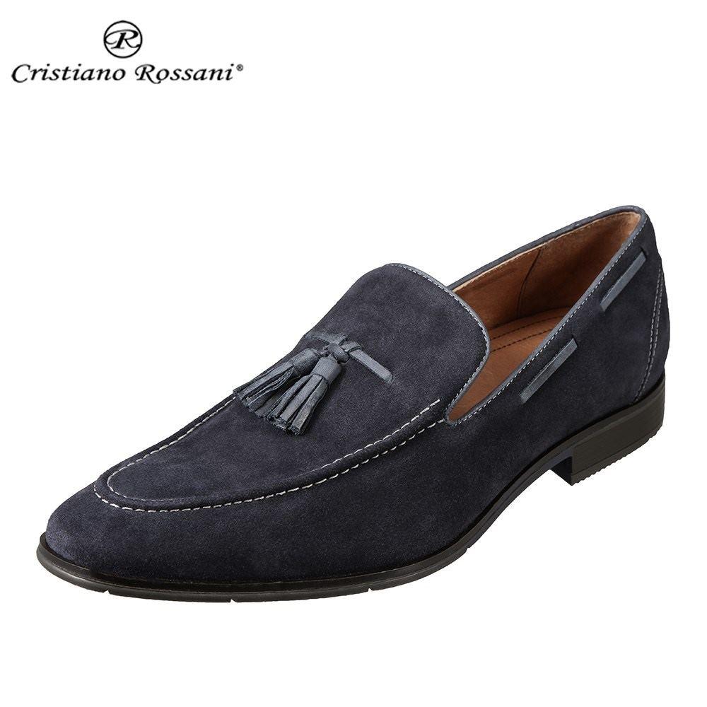 クリスチアーノ・ロザーニ Cristiano Rossani CR-2010 メンズ靴 3E相当 カジュアルシューズ 本革 レザー タッセル スエード ネイビー SP