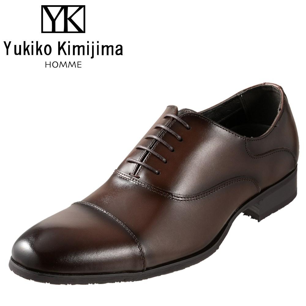 ユキコキミジマオム Yukiko Kimijima HOMME YK2090 メンズ靴 3E相当 ビジネスシューズ ストレートチップ 内羽式 ラウンドトゥ 牛革 レザー ダークブラウン SP
