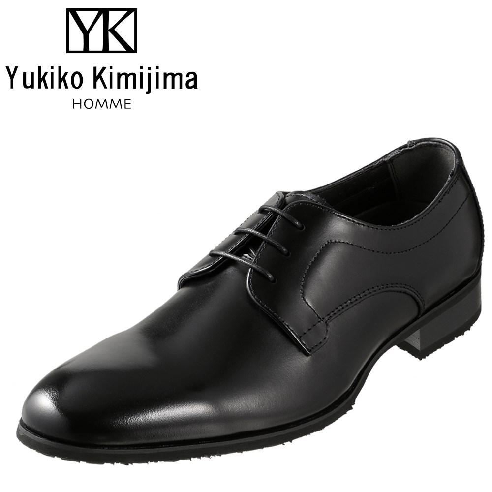 ユキコキミジマオム Yukiko Kimijima HOMME YK2092 メンズ靴 3E相当 ビジネスシューズ プレーントゥ 外羽式 ラウンドトゥ 牛革 レザー ブラック SP