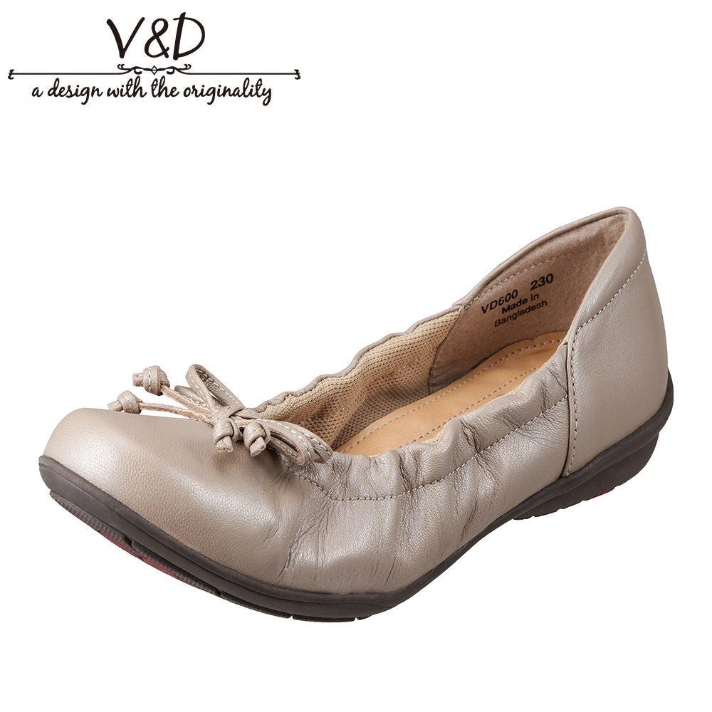 ブイ・アンド・ディー V&D VD600 レディース靴 2E相当 バレエシューズ パンプス クッション中敷き 本革 レザー 小さいサイズ対応 大きいサイズ対応 ベージュメタル SP