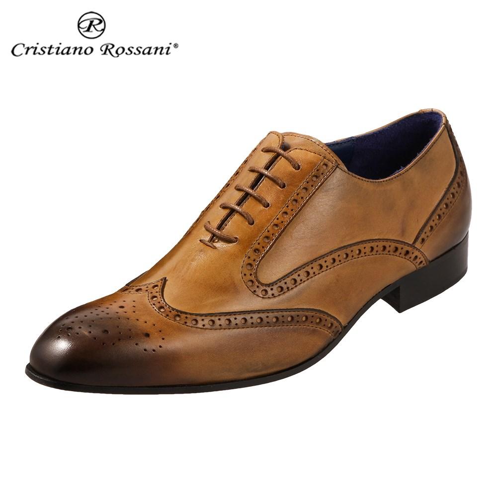 クリスチアーノ・ロザーニ Cristiano Rossani 1236 メンズ ビジネスシューズ ドレスシューズ 内羽根 ウィングチップ イタリア製 本革 ブラウン SP 取寄