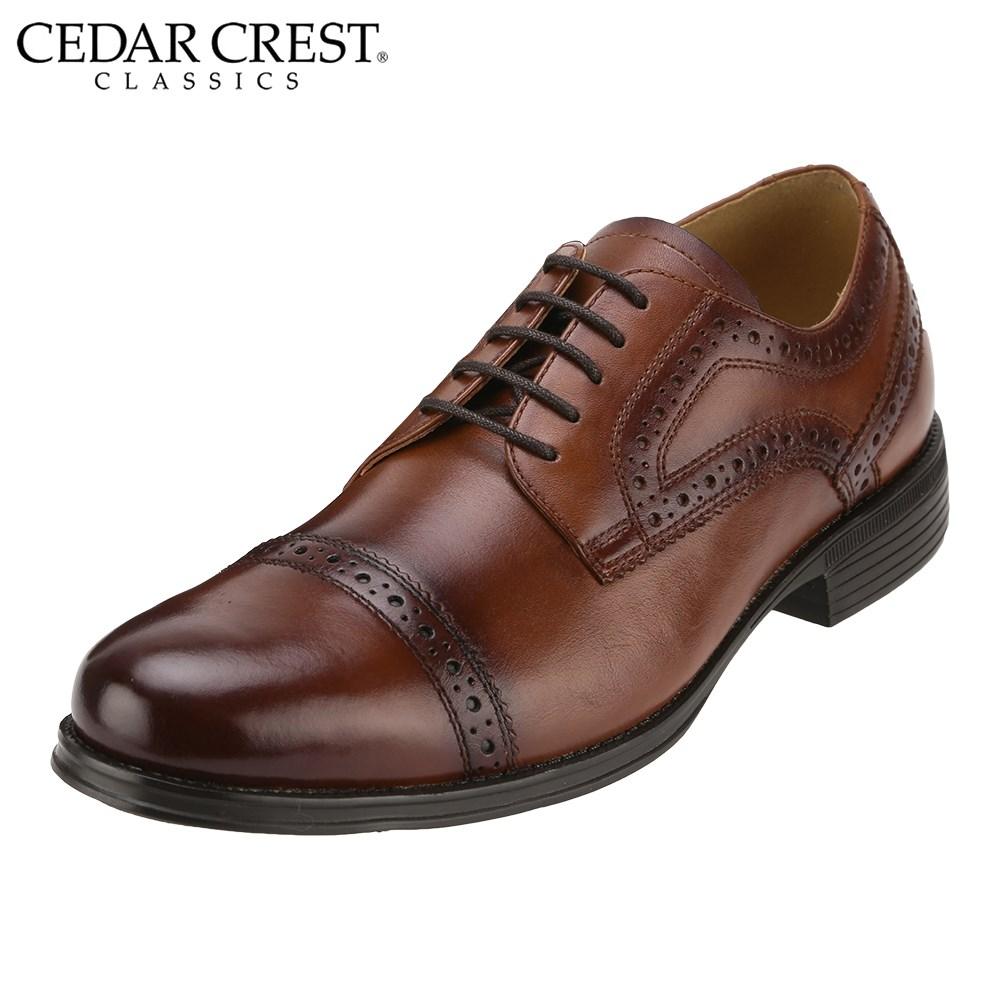 [セダークレスト クラシックス] CEDAR CREST CC-1631 メンズ   ビジネスシューズ レースアップシューズ   外羽根式 ストレートチップ   本革 幅広3E   大きいサイズ対応   ブラウン SP