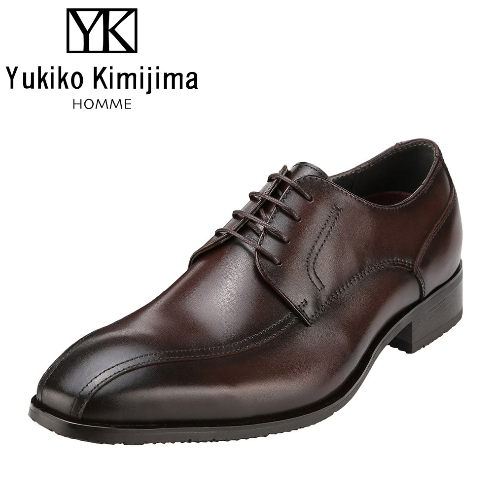 ユキコキミジマオム Yukiko Kimijima 3201 メンズ靴 靴 シューズ ビジネスシューズ 本革 外羽根 スワールモカ 日本製 国産 防滑 カップインソール 幅広 3E ダークブラウン SP