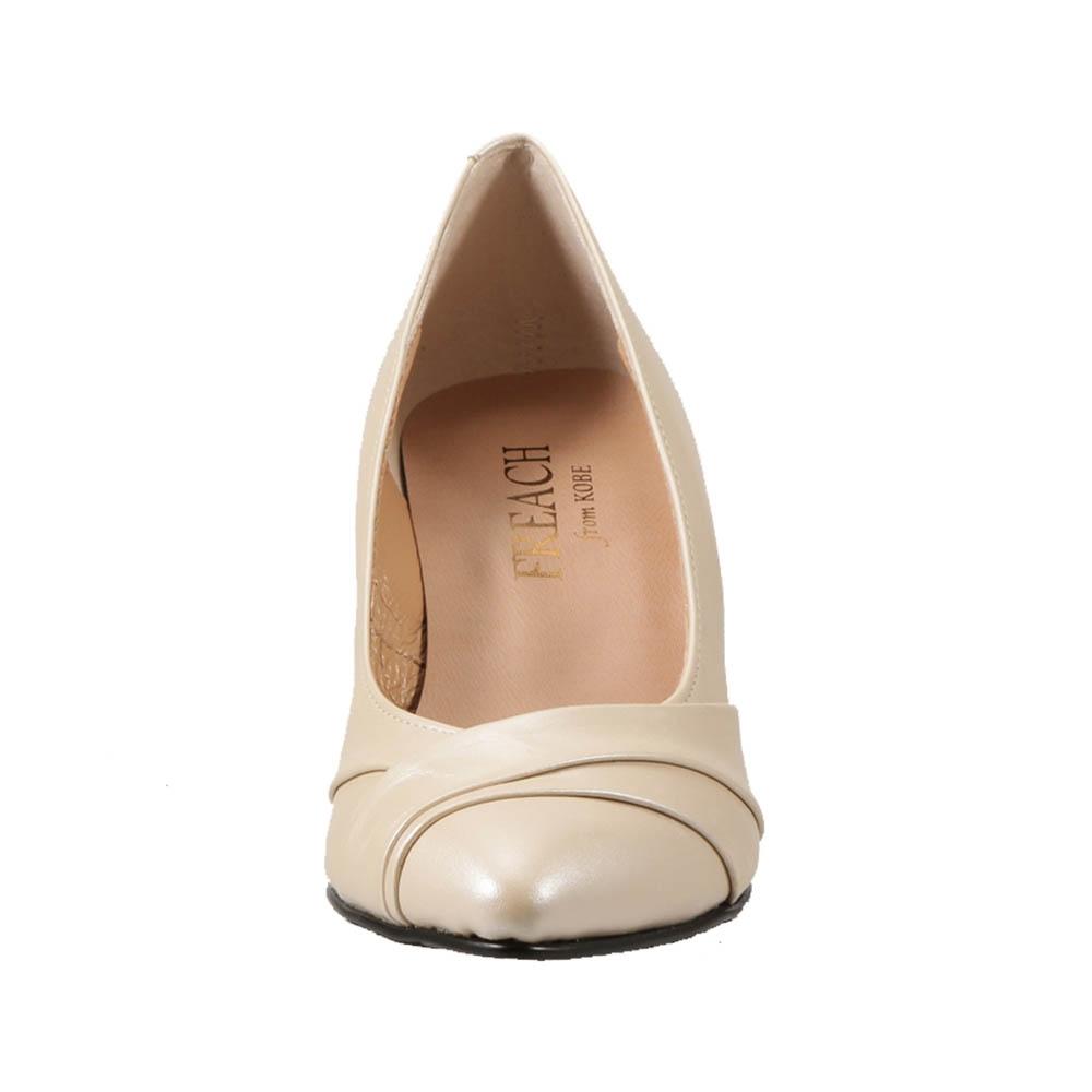フリーチフロム神戸 本革 パーティ 国産 パンプス ベージュメタ レディース靴 クッション性 シューズ FREACH from KOBE オフィス 靴 ポインテッドトゥ P6924 パンプス TSRC E相当 大きいサイズ対応 日本製 美脚 25.0cm