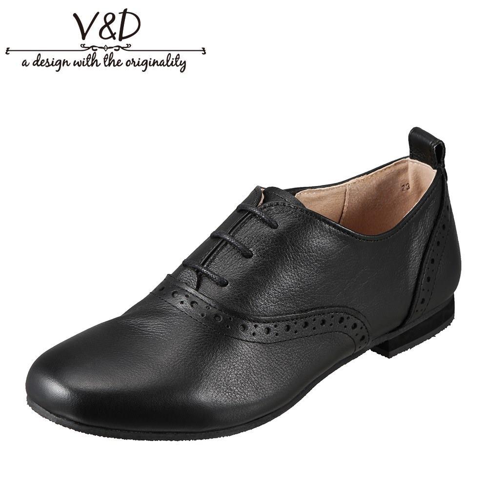 ブイ・アンド・ディー V&D VD223 レディース靴 3E相当 レースアップシューズ 本革 レザー サイドゴア ゴム ブラック TSRC