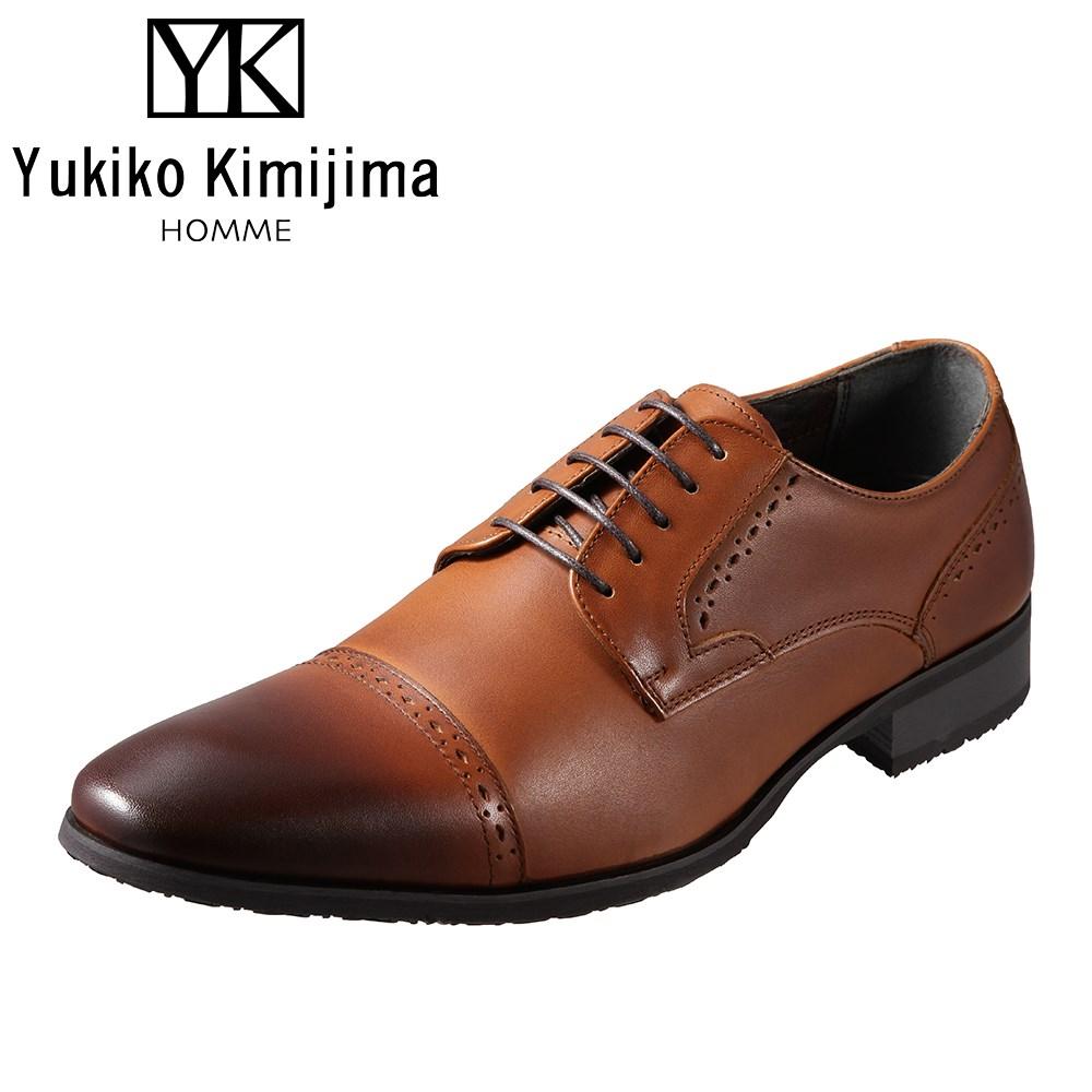 ユキコキミジマオム Yukiko Kimijima HOMME YK2100 メンズ靴 3E相当 ビジネスシューズ ストレートチップ 外羽式 ラウンドトゥ 牛革 レザー キャメル TSRC