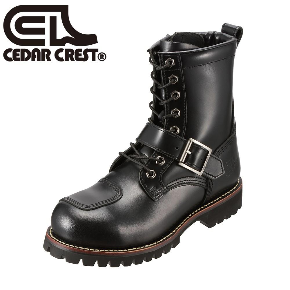 [セダークレスト] CEDAR CREST Polecat CC-1572 メンズ | バイカーブーツ | クッション性 | レースアップ | ブランド 本革 | ブラック TSRC