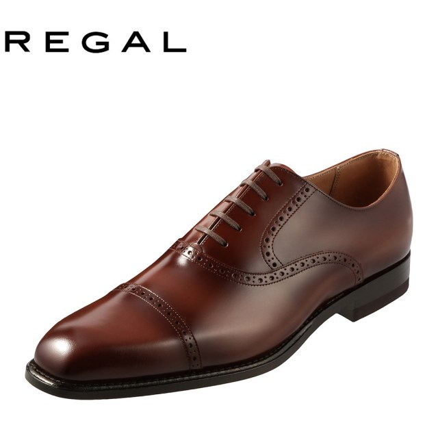 [リーガル] REGAL 122RAL メンズ   ビジネスシューズ   内羽根式 ストレートチップ   スクエアトゥ シャドウ仕上げ   小さいサイズ対応   ブラウン TSRC