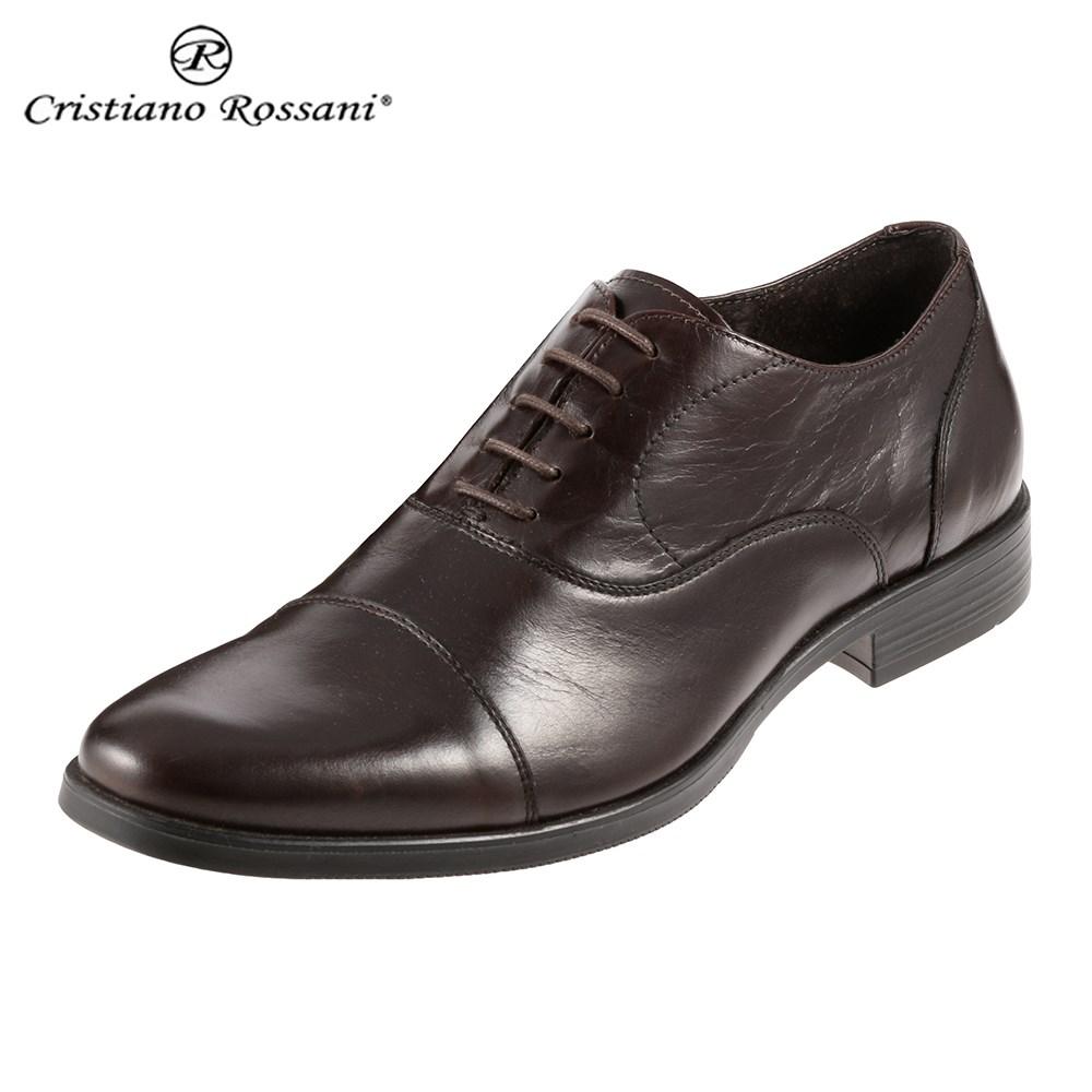 クリスチアーノ・ロザーニ Cristiano Rossani 7113 メンズ | ビジネスシューズ | 内羽式 ストレートチップ | シンプルデザイン レザー | 幅広 ゆったり | ダークブラウン TSRC 取寄