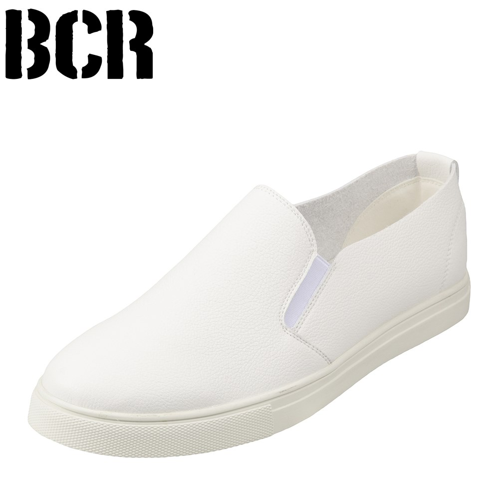 [ベアクリーク] BEARCREEK BC743 メンズ   スリッポン 白   マイクロファイバー 軽量   フラットシューズ   大きいサイズ対応 28.0cm   ホワイト TSRC