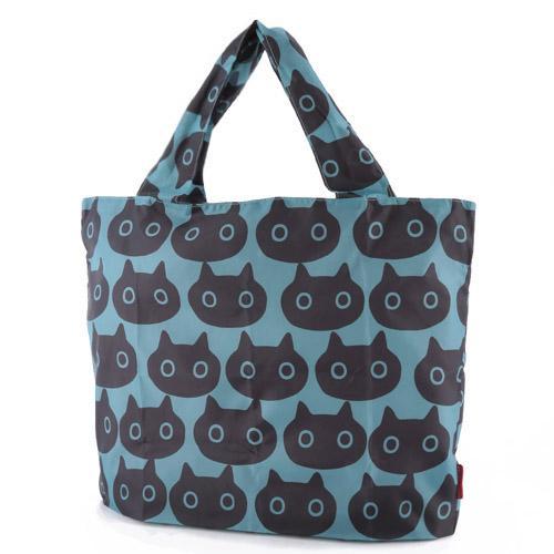 黒猫MEMEのお顔が可愛いコンパクトにたためるエコバッグです ねこバッグ 大人気! アウトレットセール 特集 ATSUKO MATANO 黒猫ブルー マタノアツコ おしくらMEMEエコバック 俣野温子