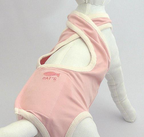 与え エリザベスカラーさようなら ねこの体型を考慮したストレスフリーの腹部手術後服 セール特別価格 猫の洋服 猫用手術後服 Mサイズ ピンク キャットガードスーツ