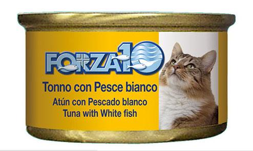 魚原料の形を残したフレークタイプの猫用ウェットフード 流行のアイテム Forza10の一般食キャットフード 猫缶 FORZA10 新入荷 流行 フォルツァ10 メンテナンスウェット マグロ 白身魚 85g