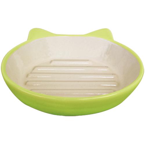 猫が食べやすいオーバルタイプのお皿です 当店は最高な サービスを提供します 猫の食器 イージーダイナーキャットディッシュ 開店祝い ライムグリーン