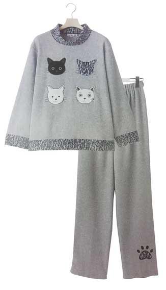 4匹の猫のお顔が可愛い厚手のパジャマです 中古 ねこパジャマ ナイトウェア ねこルームウェア 婦人用Mサイズ 正規激安 杢グレー かぶりタイプパジャマ