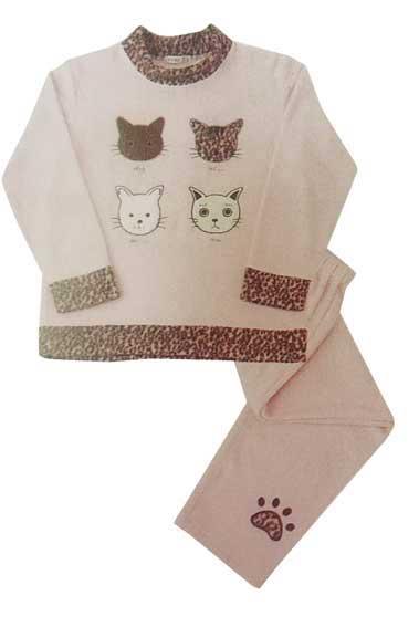 4匹の猫のお顔が可愛い厚手のパジャマです ねこパジャマ 期間限定お試し価格 ナイトウェア ねこルームウェア 豊富な品 かぶりタイプパジャマ 婦人用Mサイズ ピンク